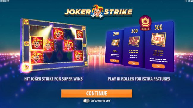 Cbet featuring the Video Slots Joker Strike with a maximum payout of $100,000