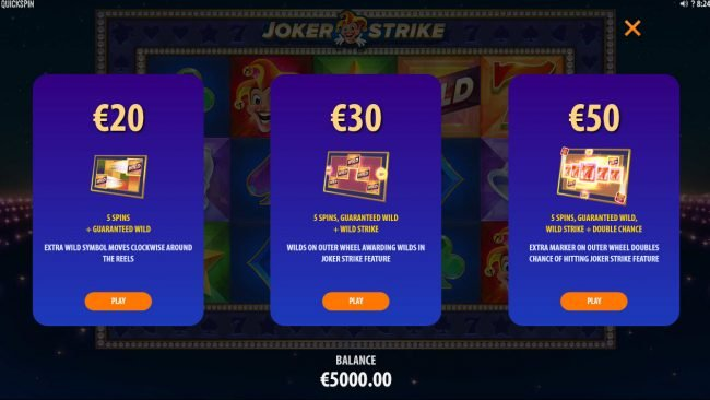 Play slots at Dreamy 7: Dreamy 7 featuring the Video Slots Joker Strike with a maximum payout of $100,000