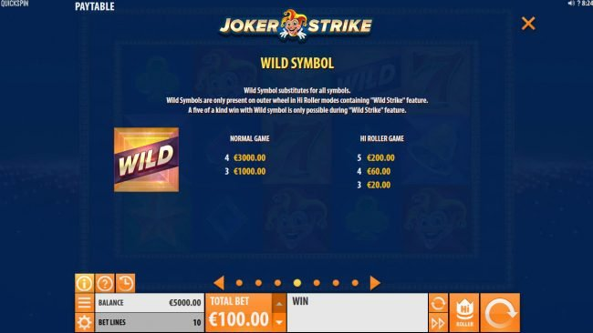 Noxwin featuring the Video Slots Joker Strike with a maximum payout of $100,000