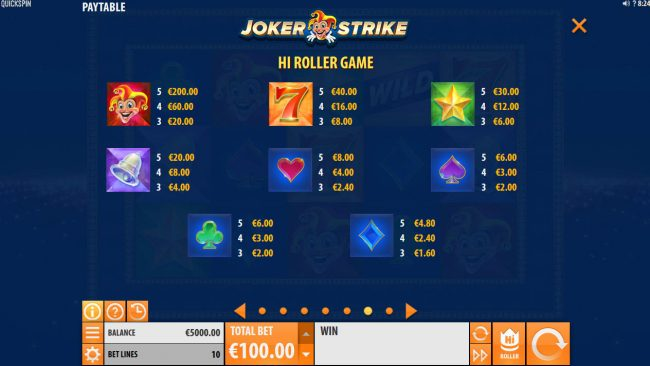 Jackpot Paradise featuring the Video Slots Joker Strike with a maximum payout of $100,000