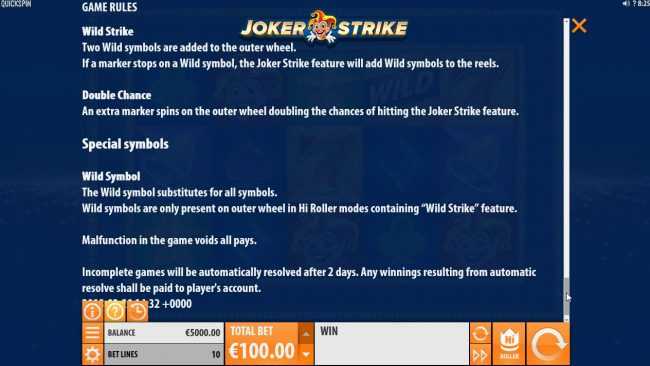 Tivoli featuring the Video Slots Joker Strike with a maximum payout of $100,000