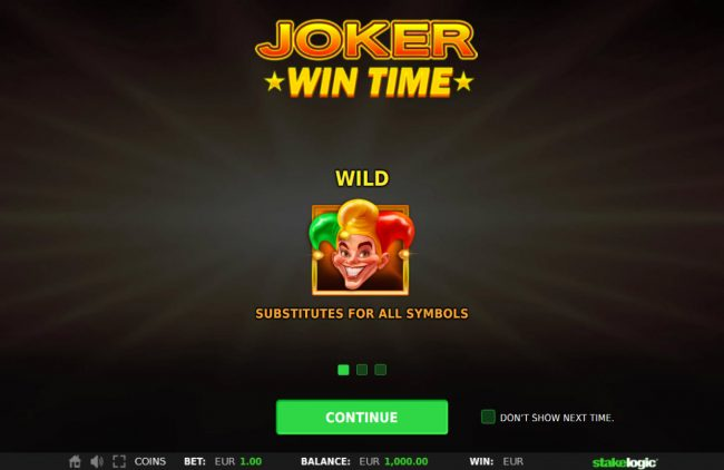 Casimba featuring the Video Slots Joker Win Time with a maximum payout of $50,000