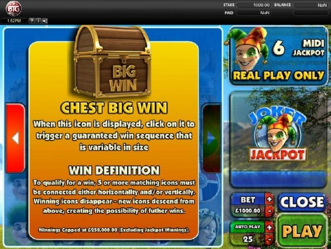 Joker Jackpot :: Chest Big Win - When this icon is displayed, click on it to trigger a guaranteed win sequence that is variable in size.