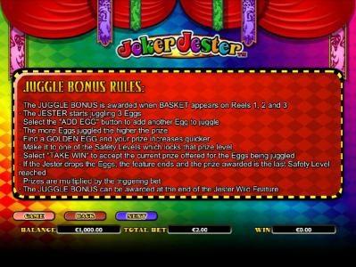 juggle bonus rules