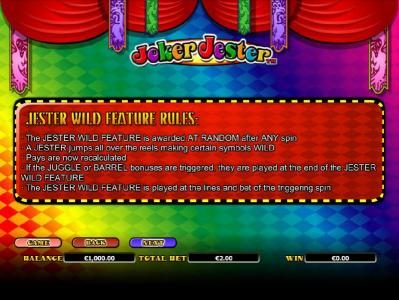 Winzino featuring the Video Slots Joker Jester with a maximum payout of $1,000