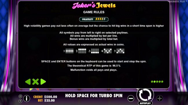 Lapalingo featuring the Video Slots Joker's Jewels with a maximum payout of $25,000