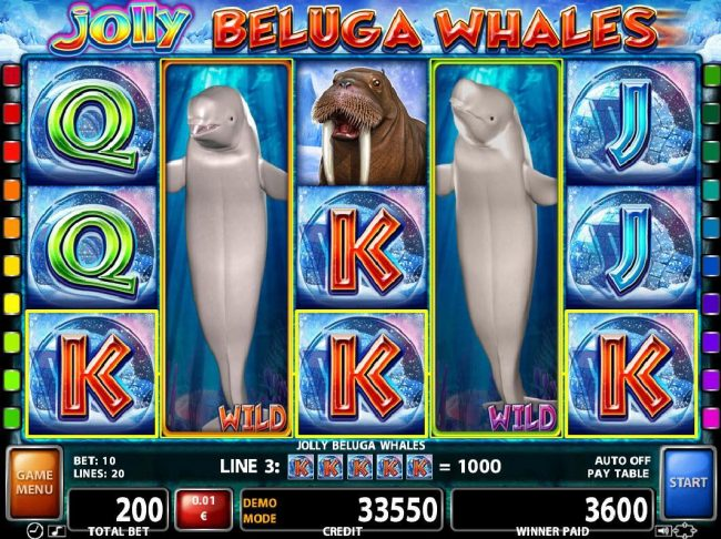 Argo featuring the Video Slots Jolly Beluga Whales with a maximum payout of $100,000