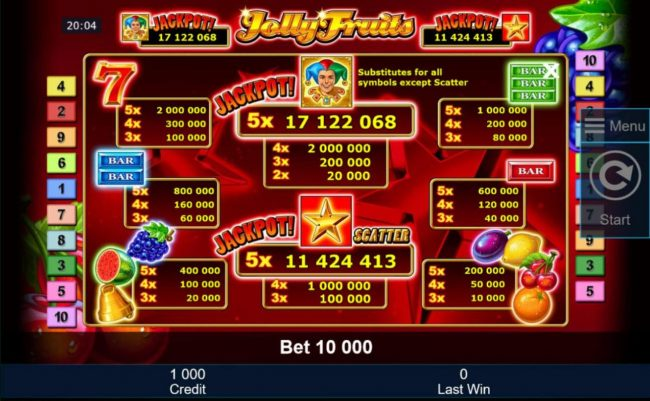 Slot game symbols paytable featuring classic fruit themed icons.