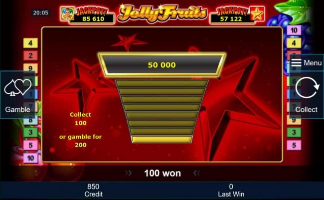 The gamble feature option is available after every winning spin.