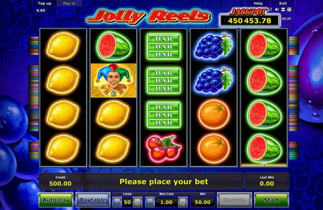 A fruit themed main game board featuring five reels and 50 paylines with a progressive jackpot max payout