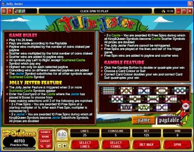 Heaven Bet featuring the Video Slots Jolly Jester with a maximum payout of $10,000