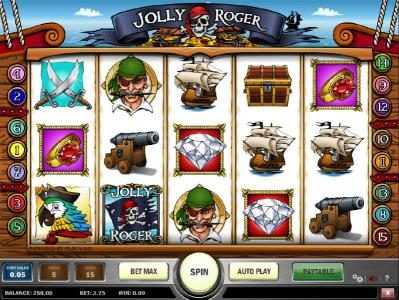 Play Club Casino featuring the Video Slots Jolly Roger with a maximum payout of $10,000