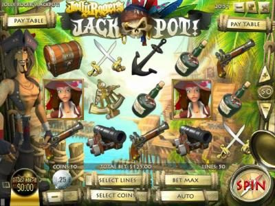 Play slots at Vive Mon Casino: Vive Mon Casino featuring the Video Slots Jolly Rogers Jackpot with a maximum payout of $12,500