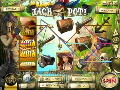 Crazy Luck featuring the Video Slots Jolly Rogers Jackpot with a maximum payout of $12,500
