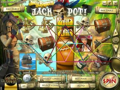 Vegas2Web featuring the Video Slots Jolly Rogers Jackpot with a maximum payout of $12,500