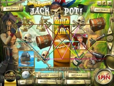 Pantasia featuring the Video Slots Jolly Rogers Jackpot with a maximum payout of $12,500