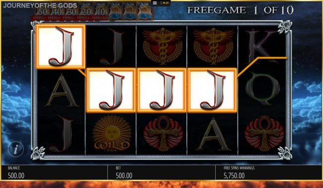 Egypt Slots featuring the Video Slots Journey of the Gods with a maximum payout of $250,000