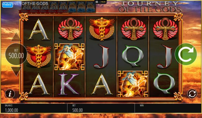 Fika Casino featuring the Video Slots Journey of the Gods with a maximum payout of $250,000