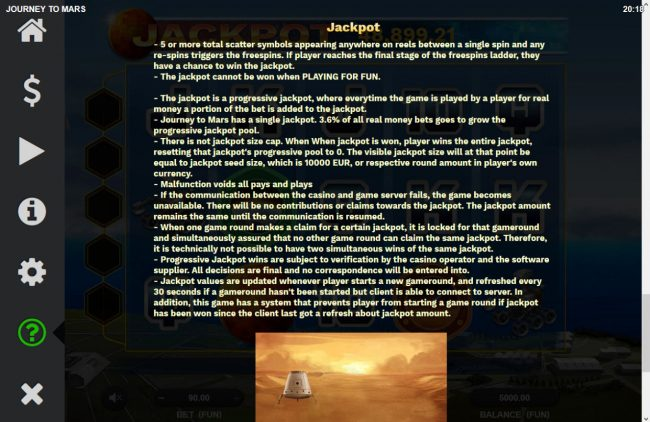 Journey to Mars :: Jackpot Game Rules