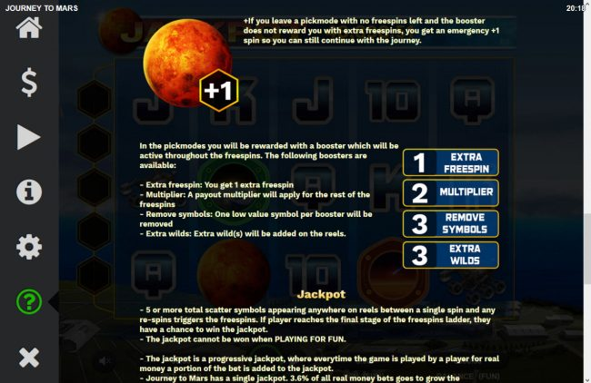 Journey to Mars :: Free Spins Rules