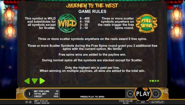 Casino Moons featuring the Video Slots Journey to the West with a maximum payout of $50,000