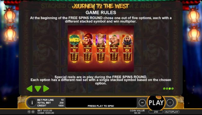 Mayflower featuring the Video Slots Journey to the West with a maximum payout of $50,000
