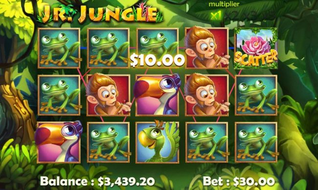 Play slots at Cyber Spins: Cyber Spins featuring the Video Slots Jr. Jungle with a maximum payout of $25,000