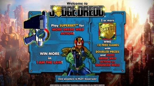 Winzino featuring the Video Slots Judge Dredd with a maximum payout of $4,000
