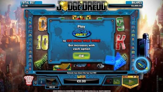 VIP Casino featuring the Video Slots Judge Dredd with a maximum payout of $4,000