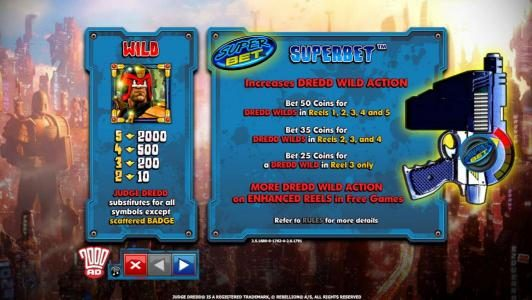 Play Club Casino featuring the Video Slots Judge Dredd with a maximum payout of $4,000