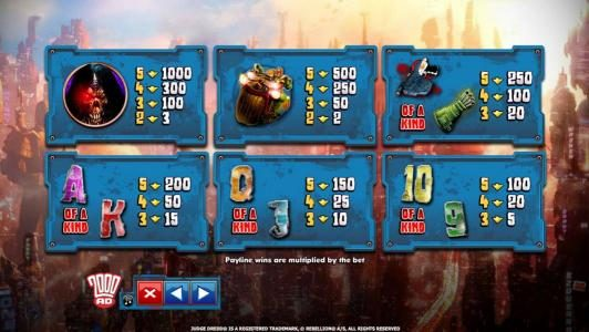 Yako Casino featuring the Video Slots Judge Dredd with a maximum payout of $4,000