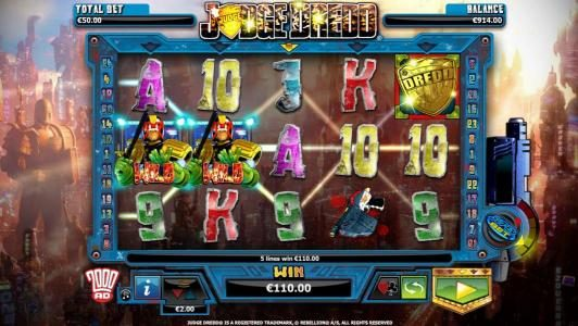 Orientxpress featuring the Video Slots Judge Dredd with a maximum payout of $4,000