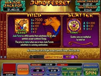 BuzzLuck featuring the Video Slots Judo Ferret with a maximum payout of $7,500