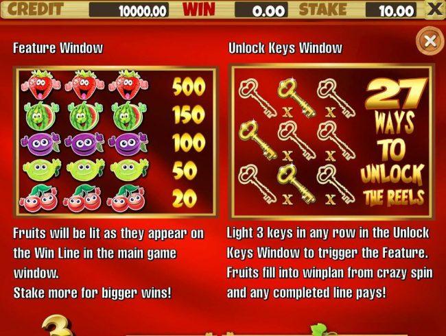 Juicy Fruits :: Feature Window and Unlock Keys
