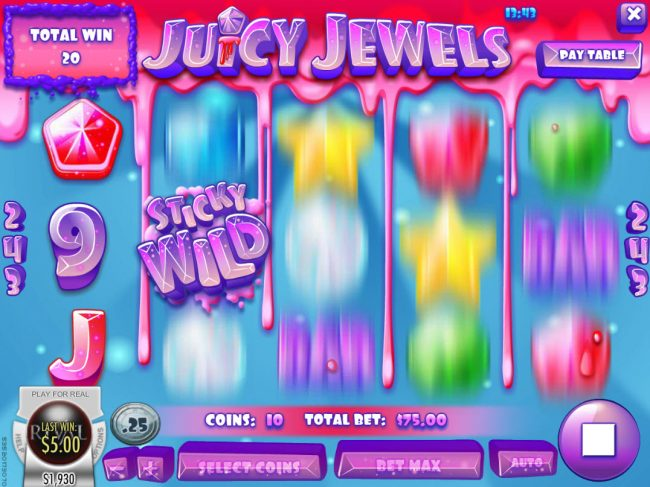 Crazy Luck featuring the Video Slots Juicy Jewels with a maximum payout of $37,500