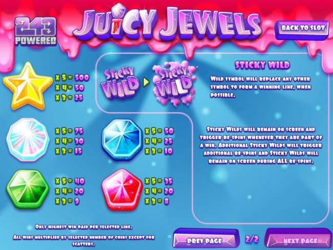 Desert Nights Rival featuring the Video Slots Juicy Jewels with a maximum payout of $37,500