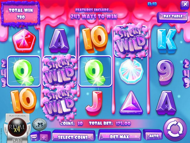 Euro Bets featuring the Video Slots Juicy Jewels with a maximum payout of $37,500