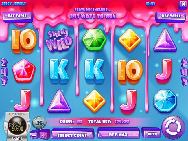 DaVincis Gold featuring the Video Slots Juicy Jewels with a maximum payout of $37,500