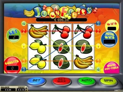 Juicy Fruity :: Main game board featuring three reels and 5 paylines with a $2,000 max payout