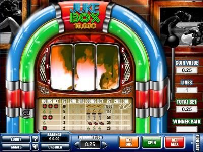 Win 7 featuring the Video Slots Juke Box with a maximum payout of $10,000