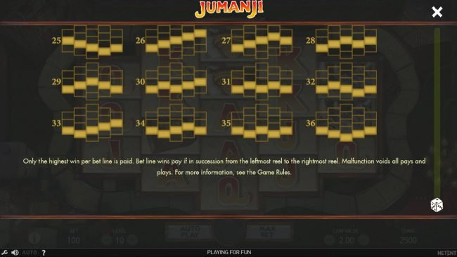 Sin Spins featuring the Video Slots Jumanji with a maximum payout of $100,800