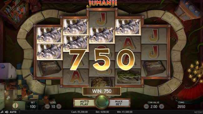 Slots Magic featuring the Video Slots Jumanji with a maximum payout of $100,800