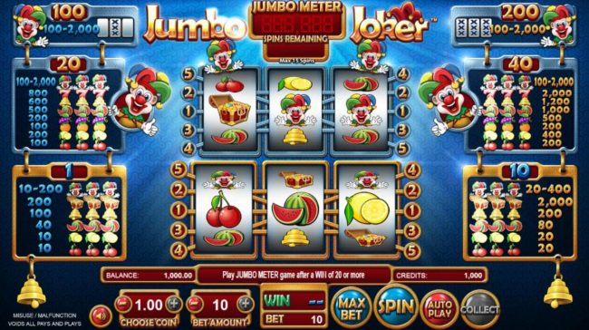 Betchain featuring the Video Slots Jumbo Joker with a maximum payout of $32,000