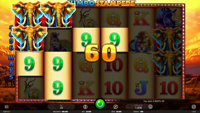 Tangiers featuring the Video Slots Jumbo Stampede with a maximum payout of $614,400