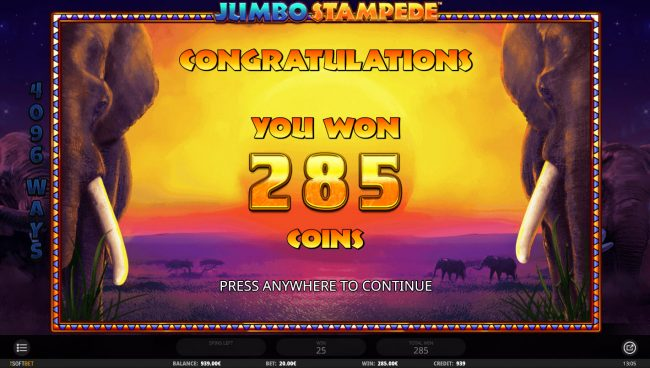 Jumbo Stampede :: Total Free Spins Payout