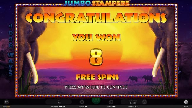 Jumbo Stampede :: 8 Free Spins Awarded