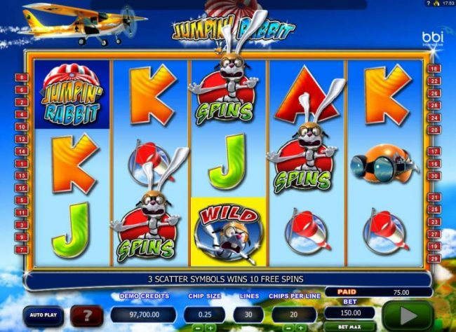 Three rabbit sky diving scatter symbols triggers the free spins feature.