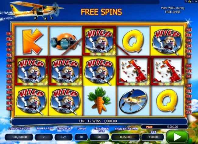 Multiple winning paylines triggers a 5,000.00 big win during the free spins feature!