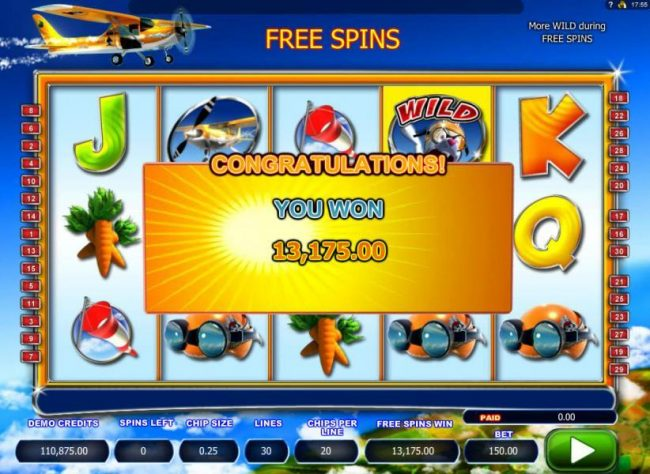 The free spins feature pays out an awesome 13,175.00!