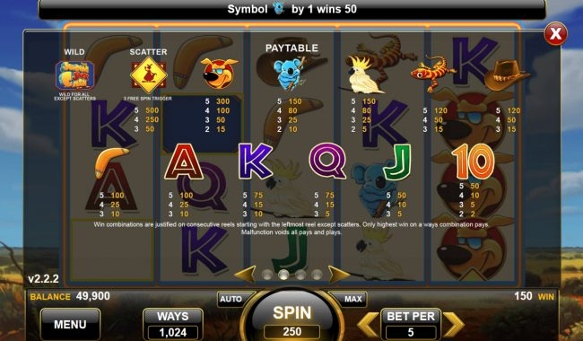 Jumping Jack Cash :: Paytable